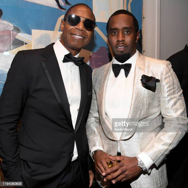 Doug E Fresh and Sean Combs attend Sean Combs 50th Birthday Bash presented by Ciroc Vodka on December 14 2019 in Los Angeles California
