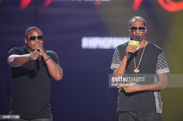 Doug E. Fresh and Uncle Snoop perform onstage during the BET Hip Hop Awards 2014 at Boisfeuillet Jones Atlanta Civic Center on September 20, 2014 in...