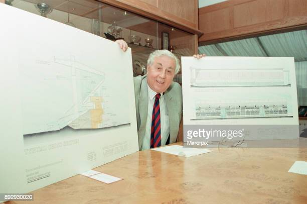 Doug Ellis Chairman Aston Villa Football Club news press conference photocall to announce that the old Witton Lane Stand has received planning...