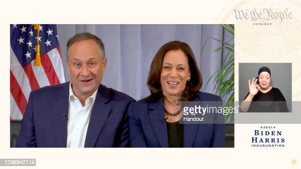 "Doug Emhoff and Vice President-elect Kamala Harris speak during the ""We The People"" virtual concert celebrating the 59th Presidential Inauguration..."