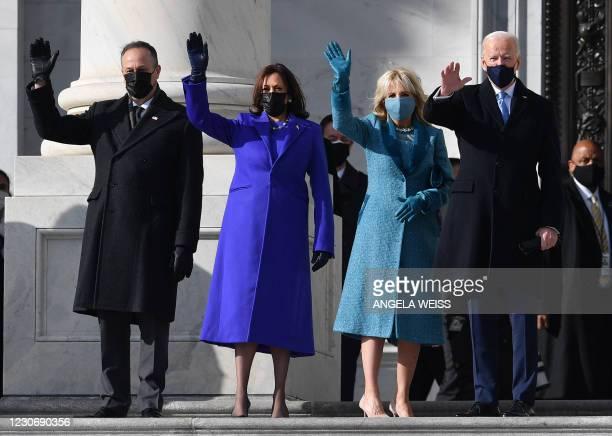 Doug Emhoff, US Vice President-elect Kamala Harris, incoming US First Lady Jill Biden, US President-elect Joe Biden arrive for the inauguration of...