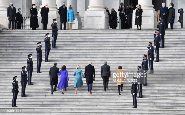 Doug Emhoff, US Vice President-elect Kamala Harris, incoming US First Lady Jill Biden, US President-elect Joe Biden, Missouri Senator Roy Blunt and...