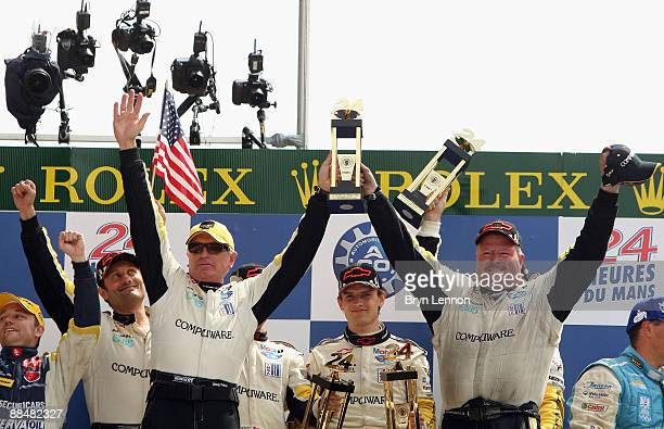 Doug Fehan and the Team Corvette Racing celebrate on the podium after winning the LMGT1 class at Le Mans 24h race on June 14 2009 in Le Mans France