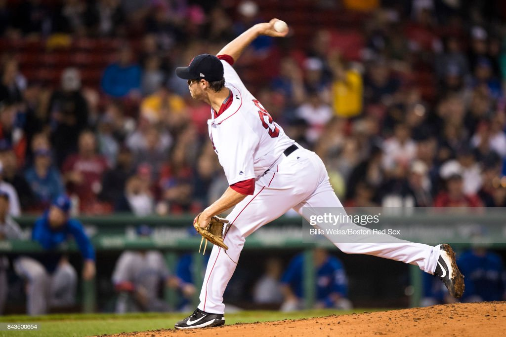 Doug Fister #38 of the Boston Red Sox delivers during the third inning of a game against the Toronto Blue Jays on September 6, 2017 at Fenway Park in Boston, Massachusetts.