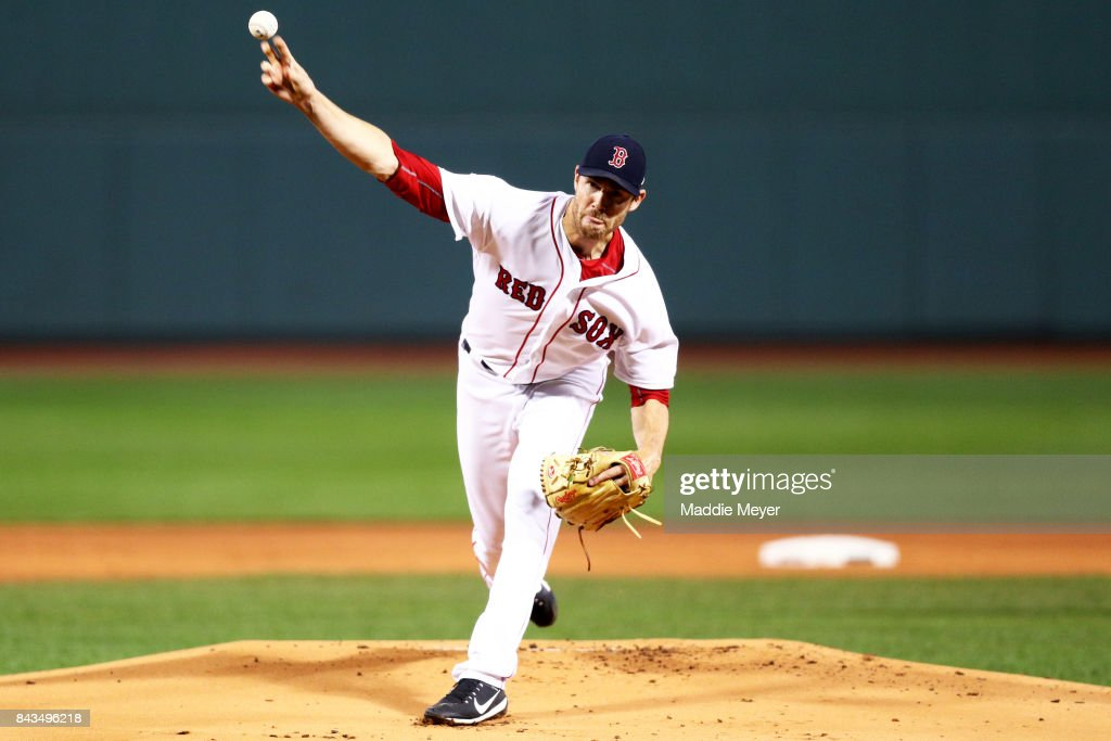 Doug Fister #38 of the Boston Red Sox pitches against the Toronto Blue Jays during the first inning at Fenway Park on September 6, 2017 in Boston, Massachusetts.