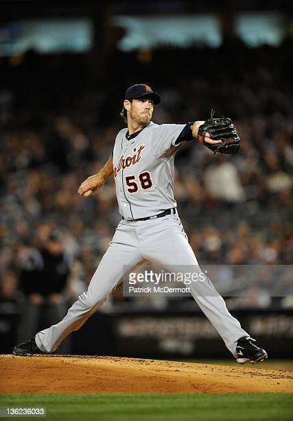 Doug Fister of the Detroit Tigers throws a pitch in the first inning against the New York Yankees during Game Five of the American League...