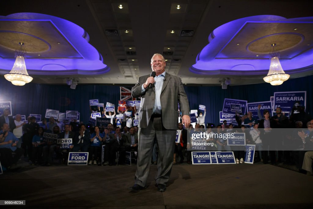 Doug Ford, Progressive Conservative Party candidate for Ontario Premier, speaks during a campaign rally in Mississauga, Ontario, Canada, on Wednesday, May 16, 2018. Ford, who's campaigning to 'take back' Ontario with an agenda to shrink government and reduce spending, is the brother of the late scandal-plagued Toronto mayor Rob Ford. Photographer: Cole Burston/Bloomberg via Getty Images