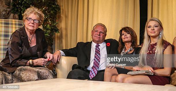 TORONTO ON OCTOBER 27 Doug Ford puts on a brave face after John Tory had been declared the winner Mother Diane and wife Karla and daughter Kyla...