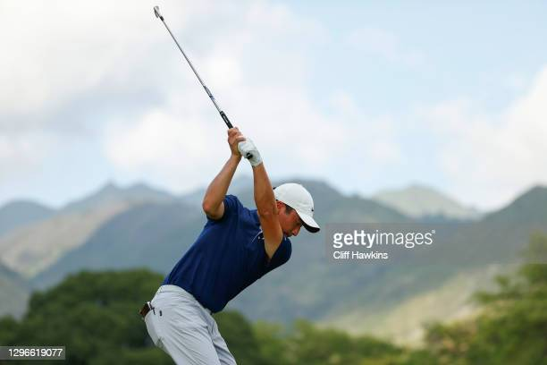 Doug Ghim of the United States plays his shot from the seventh tee plays his shot from seventh tee during the second round of the Sony Open in Hawaii...