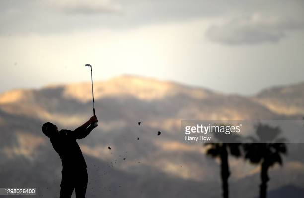 Doug Ghim plays his shot from the 17th tee during the third round of The American Express tournament on the Stadium course at PGA West on January 23,...