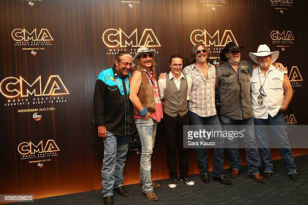 Doug Gray Chris Hicks BB Borden Marcus Henderson Rick Willis and Pat Elwood of Marshall Tucker Band speak in the press room during day 3 of the 2016...