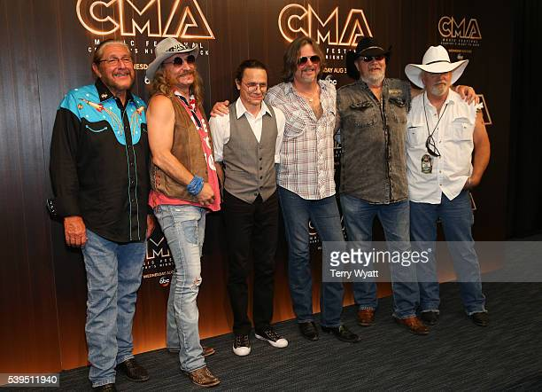 Doug Gray Chris Hicks BB Borden Marcus Henderson Rick Willis and Pat Elwood of Marshall Tucker Band attends a preshow press conference during day 3...