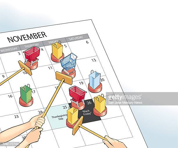 Doug Griswold color illustration of a calendar highlighting November Thanksgiving and the Friday after Thanksgiving nicknamed 'Black Friday' includes...