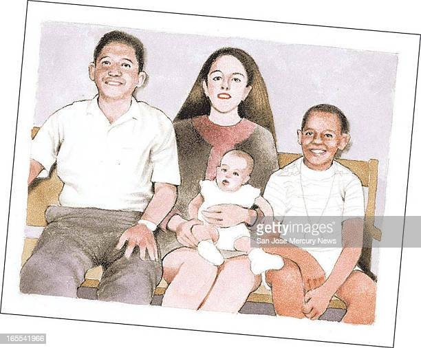 Doug Griswold color illustration of Barack Obama's Indonesian family Lolo Soetero Ann Dunham Obama's halfsister Maya SoetoroNg and Barack One from a...