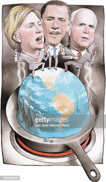 Doug Griswold color illustration of Hillary Clinton Barack Obama and John McCain standing on planet Earth melting in a frying pan