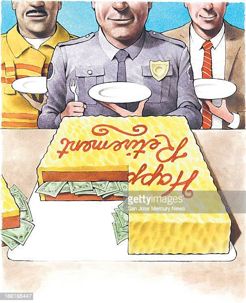 Doug Griswold illustration of retirement cake with a filling of cash can be used with stories about civil servants retiring
