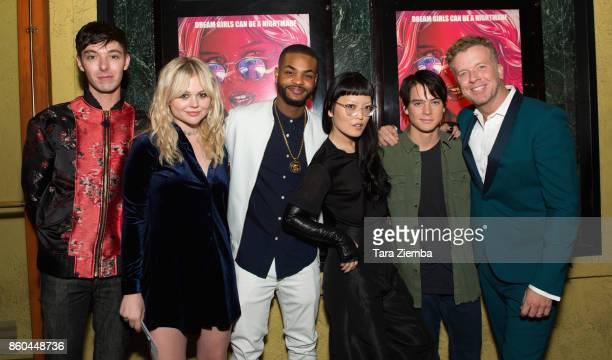 Doug Haley Emily Alyn Lind King Bach Hana Mae Lee Judah Lewis and McG attend the premiere of Netflix's 'The Babysitter' at the Vista Theatre on...