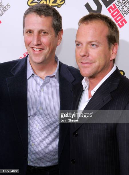 Doug Herzog and Kiefer Sutherland during 2005 Spike TV Video Game Awards Red Carpet at Gibson Amphitheater in Universal City California United States