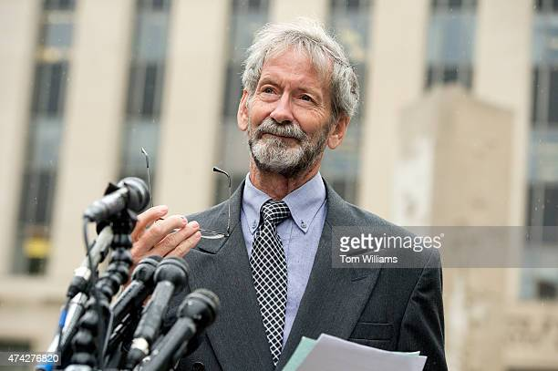 Doug Hughes conducts a news conference outside of the E Barrett Prettyman Federal Courthouse May 21 after pleading not guilty to six counts regarding...