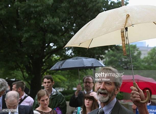 Doug Hughes the pilot of the gyrocopter that landed on the grounds of the US Capitol speaks to the media after appearing in federal court May 21 2015...