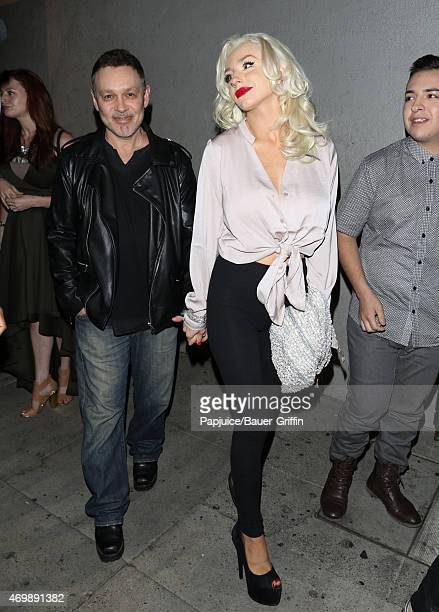 Doug Hutchison and Courtney Stodden are seen in Hollywood on April 15 2015 in Los Angeles California