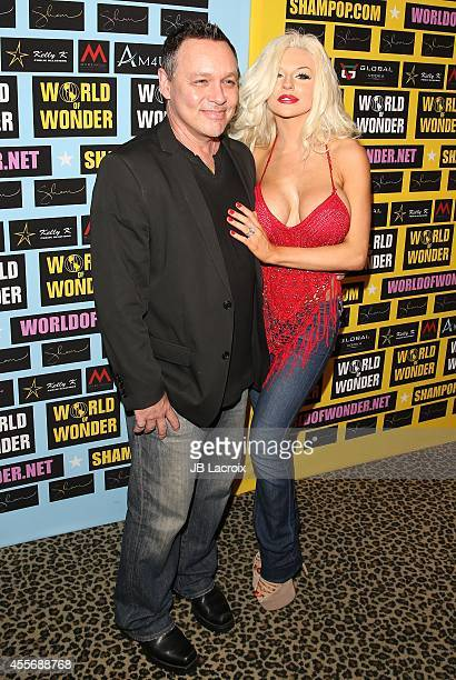 Doug Hutchison and Courtney Stodden attend a private art exhibition of Hollywood's favorite Pop Culture artist Sham Ibrahim on September 18 in...