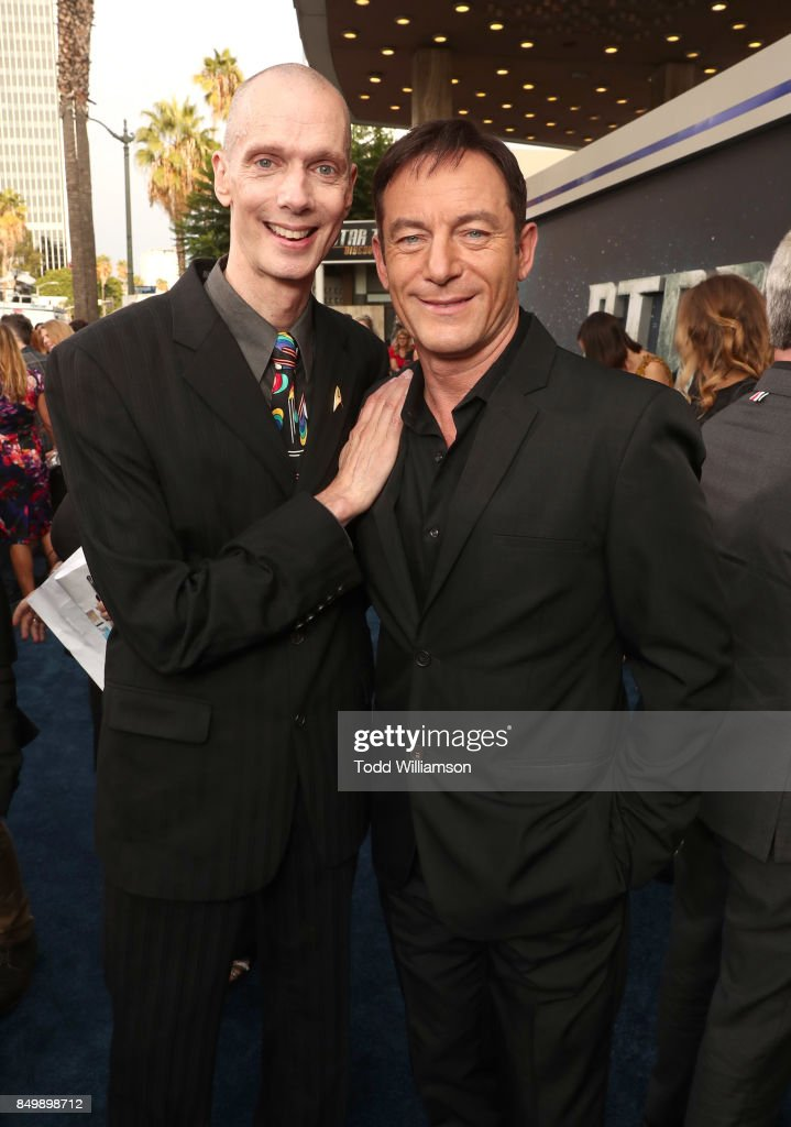 Doug Jones and Jason Isaacs attend the premiere of CBS's 'Star Trek: Discovery' at The Cinerama Dome on September 19, 2017 in Los Angeles, California.