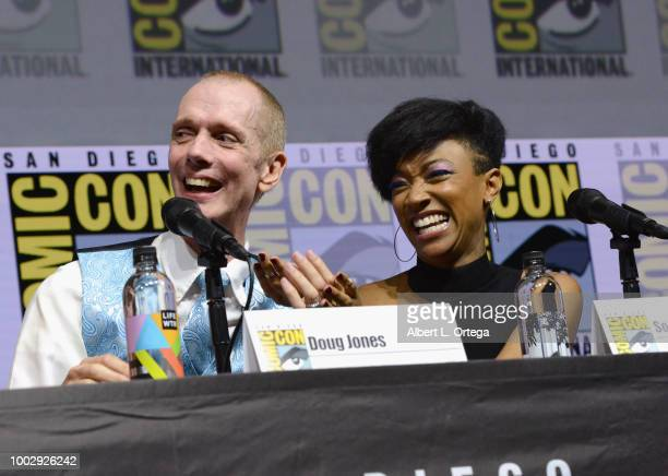 """Doug Jones and Sonequa Martin-Green speak onstage at the """"Star Trek: Discovery"""" panel during Comic-Con International 2018 at San Diego Convention..."""