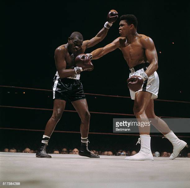 Doug Jones takes a right punch from Cassius Clay during their bout at Madison Square Garden Clay defeated Jones in the 10round match