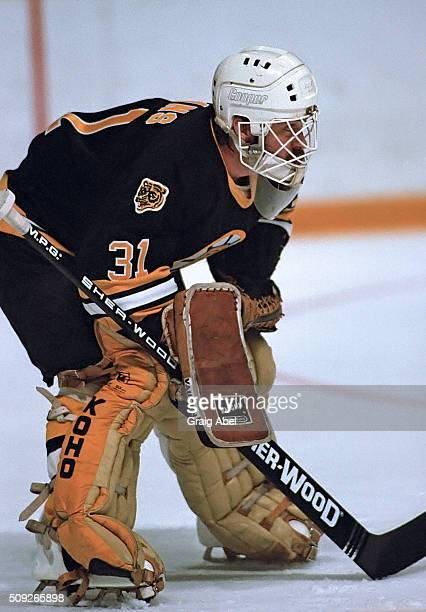 Doug Keans of the Boston Bruins prepares for a shot during NHL game action against the Toronto Maple Leafs on November 14 1985 at Maple Leaf Gardens...
