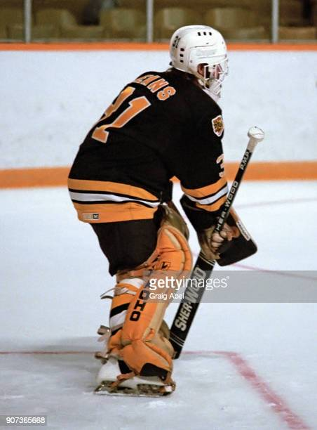 Doug Keans of the Boston Bruins skates against the Toronto Maple Leafs during NHL game action on November 14 1985 at Maple Leaf Gardens in Toronto...