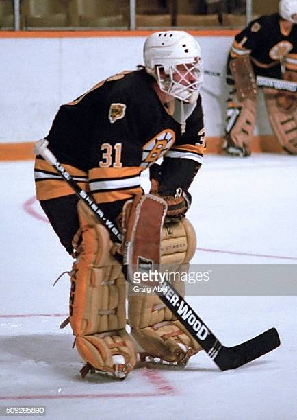 Doug Keans of the Boston Bruins skates in warmup prior to a game against the Toronto Maple Leafs on November 14 1985 at Maple Leaf Gardens in Toronto...