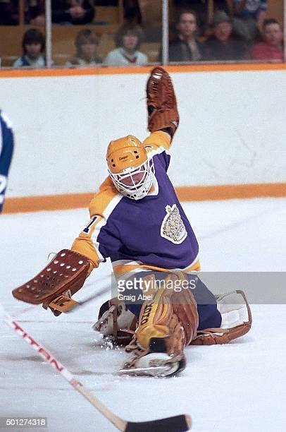 Doug Keans of the Los Angeles Kings stops a shot against the Toronto Maple Leafs at Maple Leaf Gardens in Toronto Ontario Canada on March 3 1982