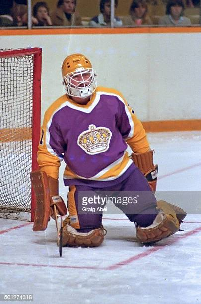 Doug Keans of the Los Angels Kings takes a break against the Toronto Maple Leafs at Maple Leaf Gardens in Toronto Ontario Canada on January 9 1982