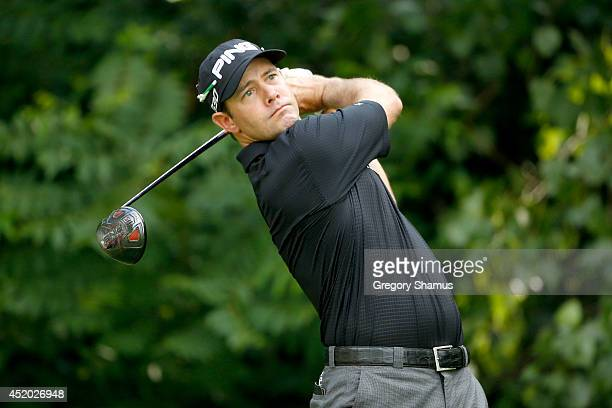 Doug LeBelle tees off on the second hole during the second round of the John Deere Classic held at TPC Deere Run on July 11 2014 in Silvis Illinois