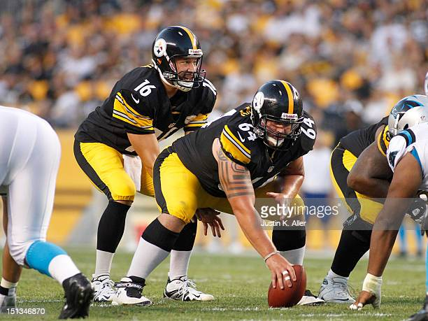 Doug Legursky of the Pittsburgh Steelers lines up against the Carolina Panthers during the preseason game on August 30 2012 at Heinz Field in...