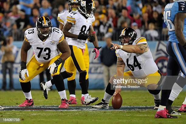 Doug Legursky of the Pittsburgh Steelers plays against the Tennessee Titans at LP Field on October 11 2012 in Nashville Tennessee
