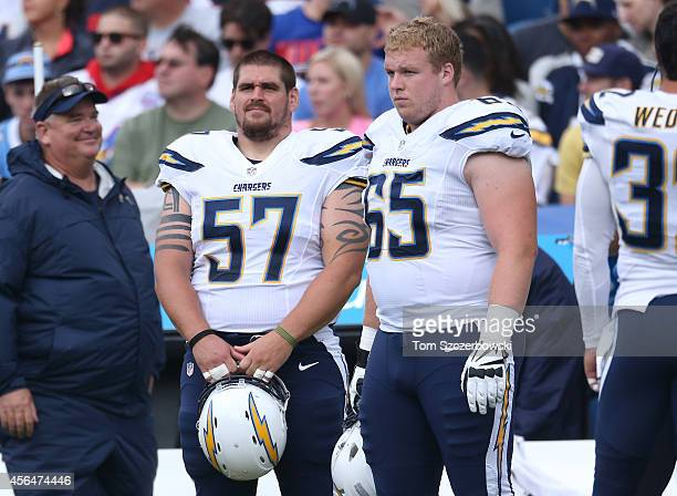 Doug Legursky of the San Diego Chargers and Chris Watt during NFL game action against the Buffalo Bills at Ralph Wilson Stadium on September 21 2014...