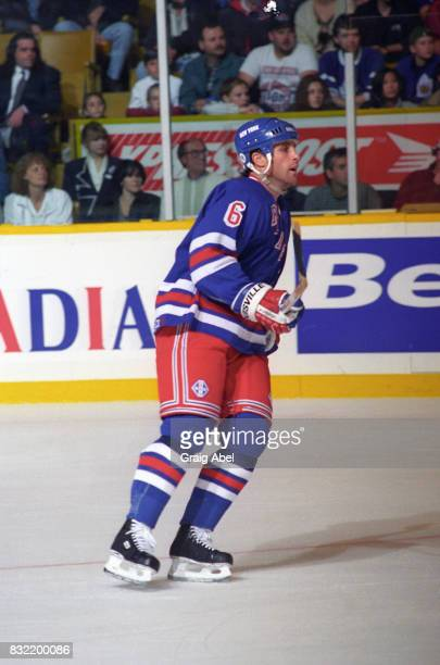 Doug Lidster of the the New York Rangers turns up ice against the Toronto Maple Leafs during NHL game action on October 14 1995 at Maple Leaf Gardens...
