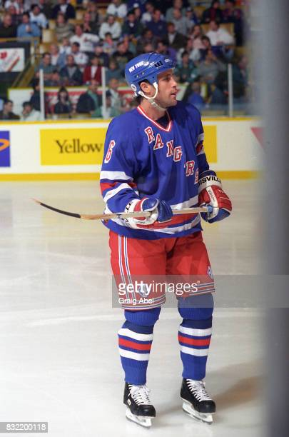Doug Lidster of the the New York Rangers watches the play against the Toronto Maple Leafs during NHL game action on October 14 1995 at Maple Leaf...