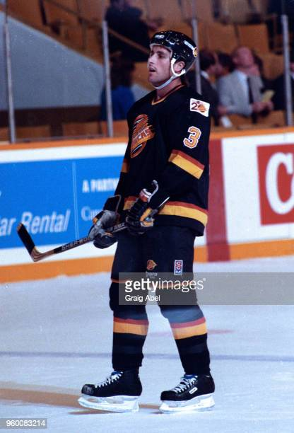Doug Lidster of the the Vancouver Canucks skates against the Toronto Maple Leafs during NHL game action on October 18 1989 at Maple Leaf Gardens in...