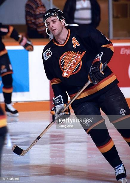 Doug Lidster of the Vancouver Canucks skates in warmup prior to a game against the Toronto Maple Leafs on December 7 1991 at Maple Leaf Gardens in...