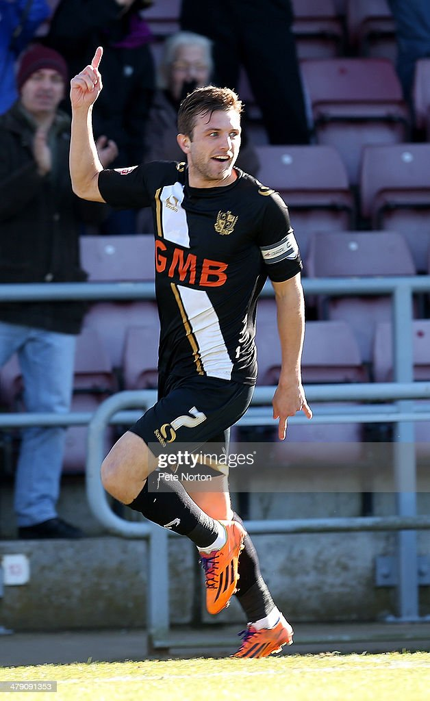 Doug Loft of Port Vale celebrates after scoring his sides 1st goal during the Sky Bet League One match between Coventry City and Port Vale at Sixfields on March 16, 2014 in Northampton, England.