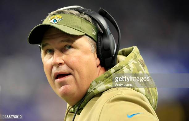 Doug Marrone the head coach of the Jacksonville Jaguars watches the action in the game against the Indianapolis Colts at Lucas Oil Stadium on...
