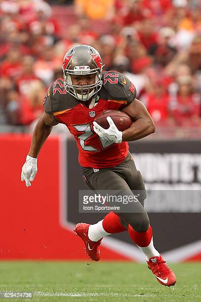 Doug Martin of the Buccaneers runs the ball during the NFL Game between the New Orleans Saints and Tampa Bay Buccaneers on December 11 at Raymond...