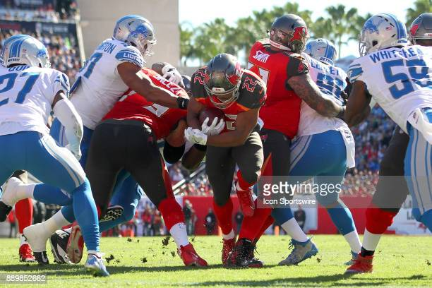Doug Martin of the Bucs rushes to the one yard line during the regular season game between the Detroit Lions and the Tampa Bay Buccaneers on December...