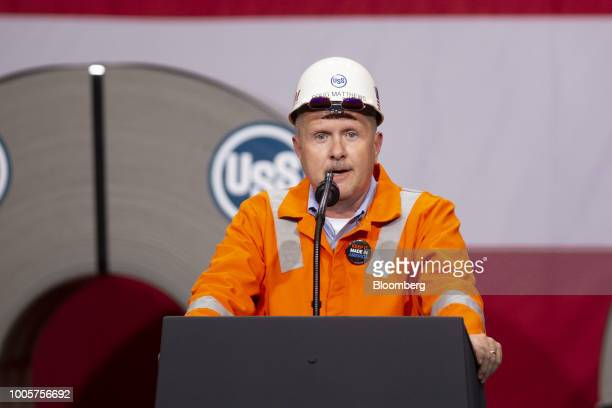 Doug Matthews senior vice president for Industrial Service Center and Mining Solutions at US Steel Corp speaks ahead of an appearance by US President...
