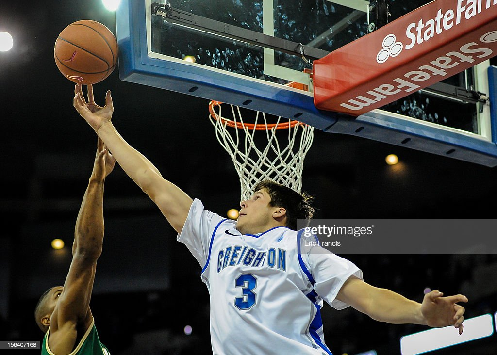Doug McDermott #3 of the Creighton Bluejays reaches for a rebound during their game against the UAB Blazers at CenturyLink Center on November 14, 2012 in Omaha, Nebraska.
