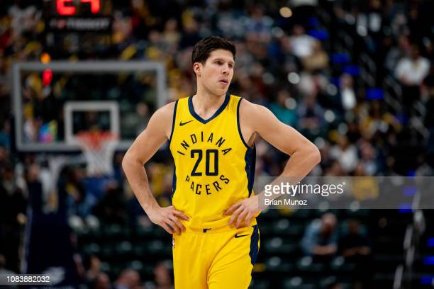 Doug McDermott of the Indiana Pacers watches a free throw during the second half of the game against the New York Knicks at Bankers Life Fieldhouse...