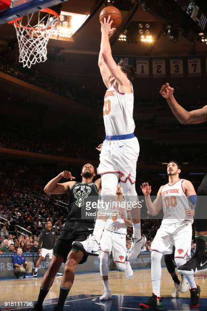 Doug McDermott of the New York Knicks drives to the basket during the game against the Milwaukee Bucks on February 6 2018 at Madison Square Garden in...